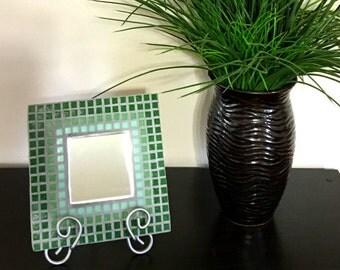 Mosaic Mirror, Green Mirror,Green Ombré Mirror,Mosaic Art, Accent Mirror, Decorative Mirror, Square Mosaic Mirror,Gifts For Her