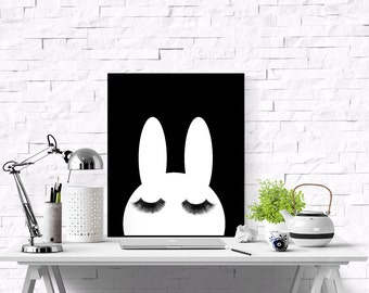 Minimalistic Nursery, Bunny, Eyelashes, Scandinavian Print ,Black And White, Affiche Noir Et Blanc, Minimalistic Poster, Nursery Art Decor