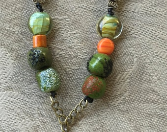 handcrafted bead and stone necklace