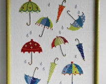 """Cross Stitch Picture """"Dancing Umbrellas"""", 25ct white linen by Zweigart, 12 colours Coats Anchor floss, lime wooden frame, 12.4"""" x 15.6"""""""
