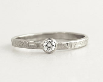 Silver diamond ring, Silver engagement ring, small diamond ring, delicate diamond ring, unique silver engagement ring, thin diamond ring.