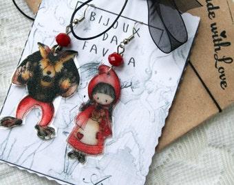 LITTEL RED CAP Earrings, Cappuccetto rosso,  orecchini, Bijoux da Favola, Fairy Jewellery