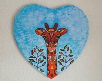HEART-SHAPED ZENTANGLE PAINTING Giraffe-Heart Shaped Painting Giraffe