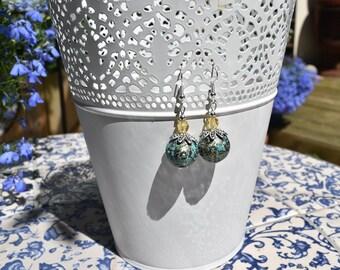 Turquoise and yellow beaded earrings
