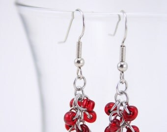 Red Dangle Chainmaille Earrings