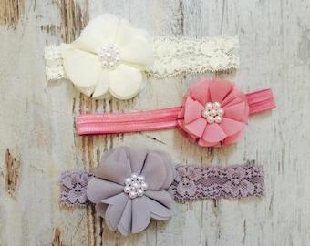Set of 3 Shabby chic baby headbands, newborn headband, baby hair bow, baby, infant headbands, baby shower gift, vintage baby headband set