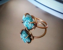 Raw Stone Ring Raw Chrysocolla Ring Chrysocolla Jewelry Brass or Silver Boho Ring Bohemian Blue Jewelry Bohemian Ring