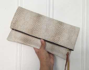 Chic Fold-Over Leather Clutch - White Tan Snake Embosse - Gifts for Her! Gifts for Him! Gifts for her under 100.