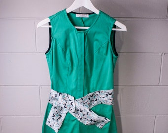 Playsuit green cotton - printed waist belt
