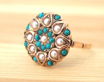 Turquoise ring, Pearls ring, Turquoise  and Pearls 14k rose gold ring, Solid gold ring, unique Gold Ring, Vintage ring, Statement ring