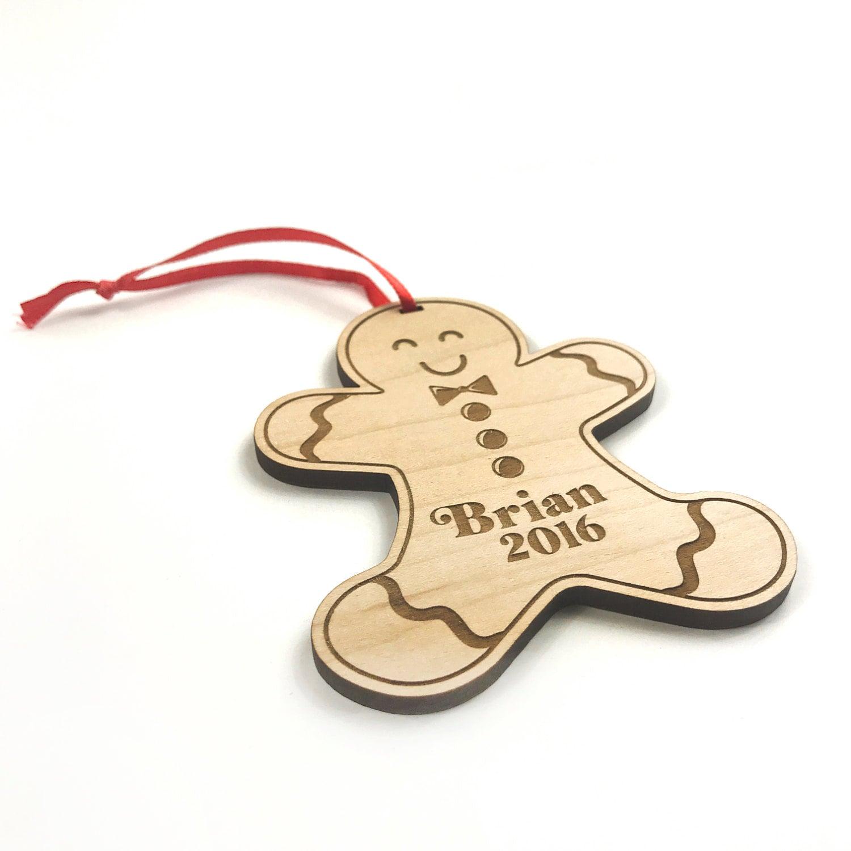 Gingerbread Man Christmas Ornament Wooden Ornament Handmade Gift Custom  Name & Date Christmas Tree Decoration First Christmas Wood Decor