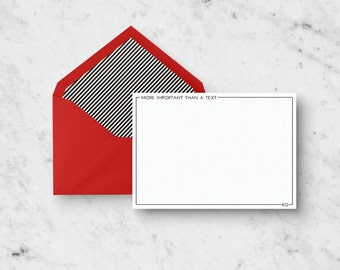 Stationery Set - More Important Than A Text - Set of 10 A2 Notecards with Envelopes - Blank Stationery Set  - Funny Stationery Set