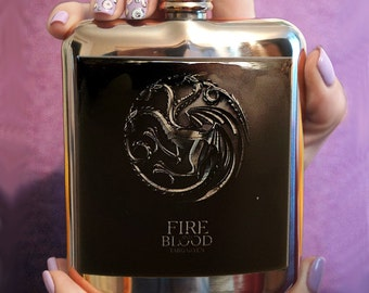 Liquor Hip flask Stainless Steel 6 oz - GAME of THRONES FLASK - Custom flask, Accessory, custom flask,  hip flask, Game of Thrones giftflask