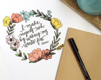 I Make Myself Rich By Making My Wants Few Thoreau Quote Digital Download Instant Download Print Floral Wreath