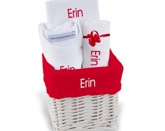 Personalized Baby Gift Basket, Baby Girl Gift Basket - Onesie, Bib, & Burp Cloth - Small(C)