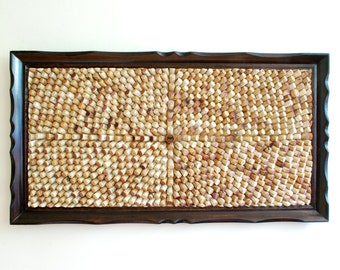 """Extra Large Optical Illusion handmade Cork Board in Vintage Solid Wood Frame - 46"""" x 25"""""""