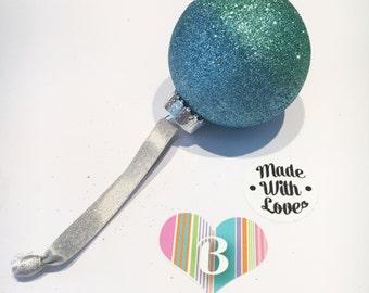 Christmas Plastic Bauble, Blended Light Blue And Turquiose Glitter, Handmade