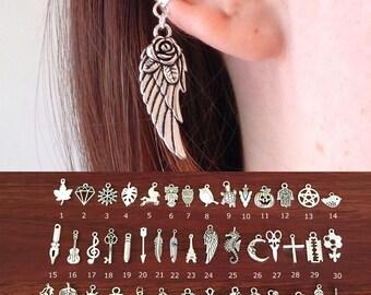 Charm Ear Cuff No Piercing, Cartilage Earrings, Dangle Clip On Earrings, Non Pierced Earrings, Silver Wing Cross Boho Feather Owl Jewelry