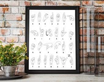 Sign Language Print / Instant Download / Art Printable / Sign Language