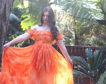 Orange Tie Dye Chiffon Maxi Dress