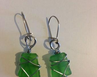 Green Genuine Sea Glass Earrings