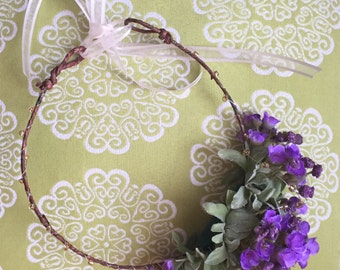 Purple Thistle Flower Crown, Purple Flower Crown, Bridal Flower Crown, Floral Festival Crown, Flower Girl Flower Crown, Wedding Flower Crown