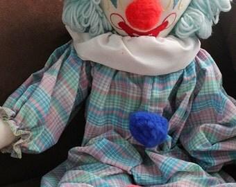 Vintage Clown doll-Handmade clown-Cloth clown-Children's Clown toy-Circus decor-Kids room decor