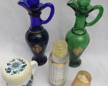 Vintage Avon cologne perfume bottles decanters urn blue green glass milk glass set of 5