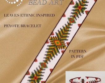 Peyote pattern for bracelet - Leaves ethnic inspired peyote bracelet pattern in PDF - instant download