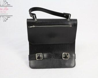Vintage Small Black Leather Handbag