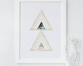 Triangle print, palm print, beach print, geometric wall art print, scandinavian print, minimalist print, gold print, abstract, modern print