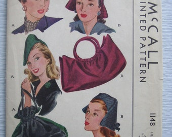 vintage 1148 McCall HATS & BAG sewing pattern