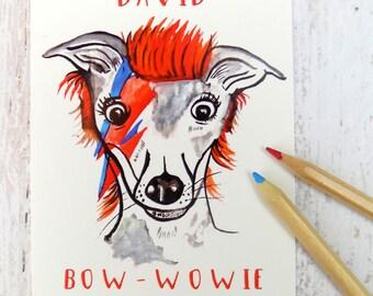 Cute Funny David Bowie Dog Postcard David Bowie Stationary Gift