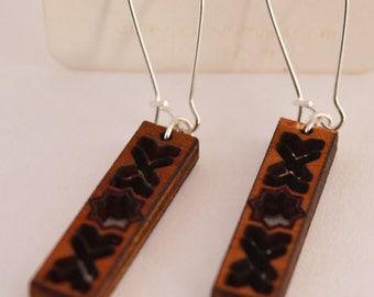 Suns and Crosses wooden earrings
