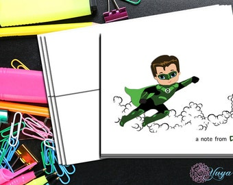 Green lantern comic book   Thank You Cards / comic book stationery / Superhero Stationery Set / personalized Boy thank you cards / Set of 12