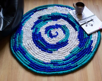 Floor Rug - Upcycled Fabric - Blue and White