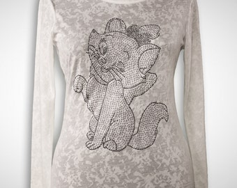 Rhinestone T-Shirt Kitty