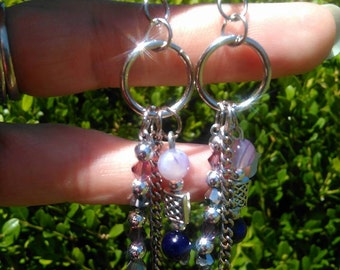 Amethyst, silver and crystal earrings with tibetan silver beads