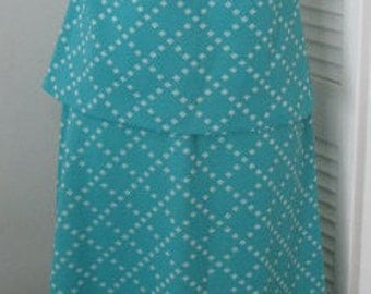 Double Knit Polyester Turquoise And White Sleeveless Top & Skirt Size S-M Set Vintage 1960s