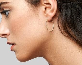 Dainty Gold Hoops, Oval Hoop Earrings Circle, Minimal Earrings in 14kt Gold Filled, Sterling Silver, Delicate Earrings [S- B53]
