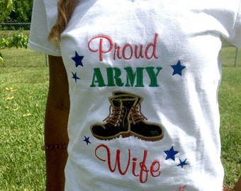 Proud Army Wife T-shirt, Army shirt, Army Wife