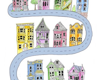 San Francisco, Victorian Houses SF, Colorful Houses, Neighborhood Illustration, Lombard Watercolor Art Print 5x7