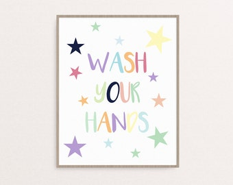 Kids Bathroom Rules, Wash Your Hands, Wall Art, Printable, 8x10, Printable Bathroom Decoration, Bathroom Rules, Bathroom Sign, Home Decor