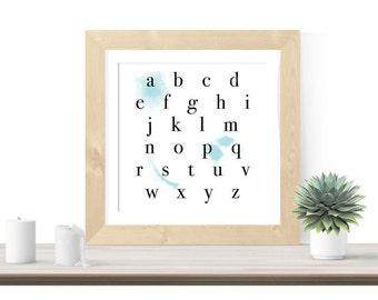 Watercolor Alphabet Poster, Baby Boy Nursery Wall Art, Modern Nursery Decor, Modern Bedroom Wall Print Square Alphabet Print, Watercolor Art