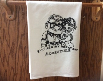 "Disney's Up:""Adventure awaits"" kitchen towel showcase Carl & Ellie's love story screen printed on flour sack towel"