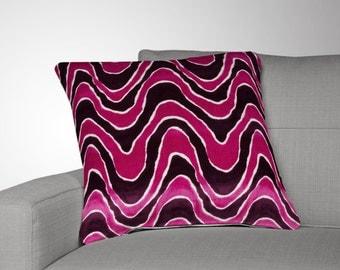 SET OF 2 Velvet Throw Pillow Covers - Fuchsia Pillow Covers - Pink Pillow Covers - Velvet Throw Pillow Covers- Robert Allen -Lush Wave Beet