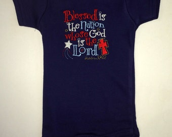 Blessed is the Nation whose God is the Lord Psalm 33:12 embroidered bodysuit