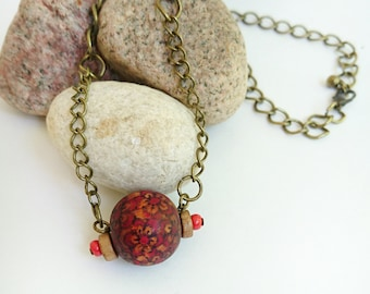 Sphere Pendant Necklace - Shabby Chic Necklace - Rustic Wooden Necklace -  Gift For Her Rustic Necklace - Upcycled Recycled Repurposed