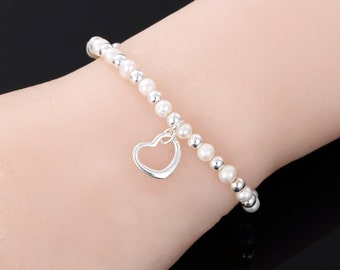 SARULO White Freshwater Pearls 925 Sterling Silver Bracelet  Gift Set