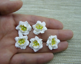White Eustoma Flowers, Polymer Clay Flower beads, White Flowers, Eustoma, 5 pieces